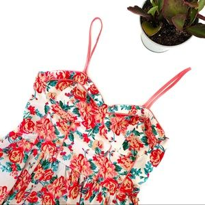 Wet Seal White Floral Print Bustier Mini Dress
